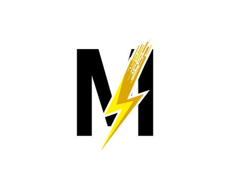 Flash M Letter Logo, Digital Data Electrical Bolt Logo Vector