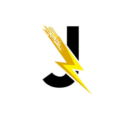 Flash J Letter Logo, Digital Data Electrical Bolt Logo Vector 向量圖像