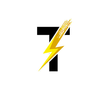 Flash T Letter Logo, Digital Data Electrical Bolt Logo Vector 向量圖像