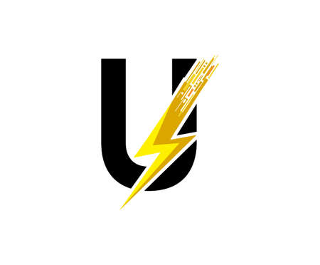 Flash U Letter Logo, Digital Data Electrical Bolt Logo Vector