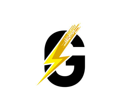 Flash G Letter Logo, Digital Data Electrical Bolt Logo Vector