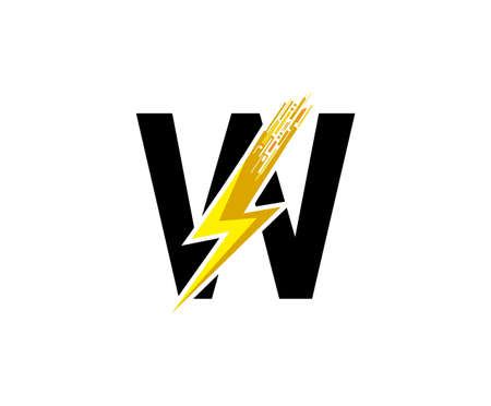 Flash W Letter Logo, Digital Data Electrical Bolt Logo Vector