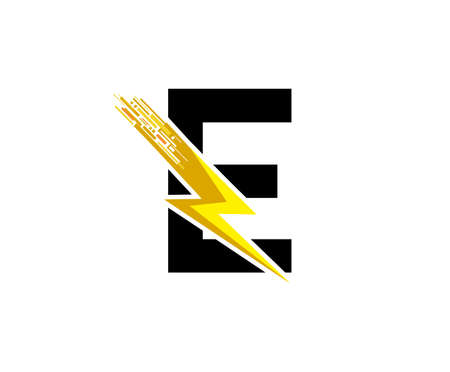 Flash E Letter Logo, Digital Data Electrical Bolt Logo Vector