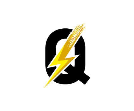 Flash Q Letter Logo, Digital Data Electrical Bolt Logo Vector 向量圖像