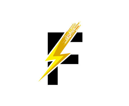 Flash F Letter Logo, Digital Data Electrical Bolt Logo Vector