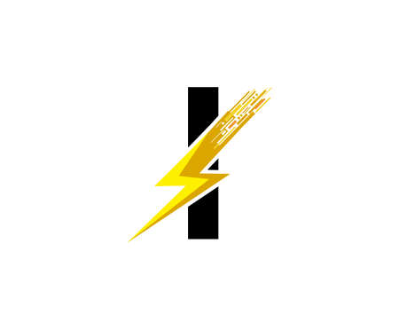 Flash I Letter Logo, Digital Data Electrical Bolt Logo Vector