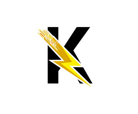 Flash K Letter Logo, Digital Data Electrical Bolt Logo Vector