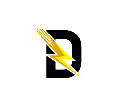 Flash D Letter Logo, Digital Data Electrical Bolt Logo Vector 向量圖像