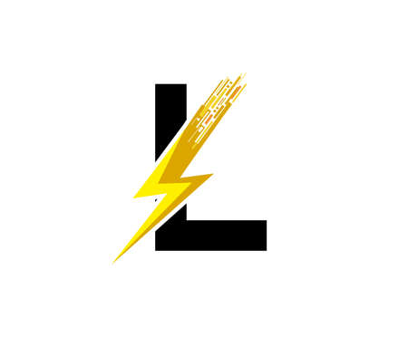Flash L Letter Logo, Digital Data Electrical Bolt Logo Vector
