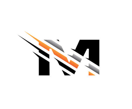 Abstract Initial Letter M Fast Technology logo icon vector design concept.