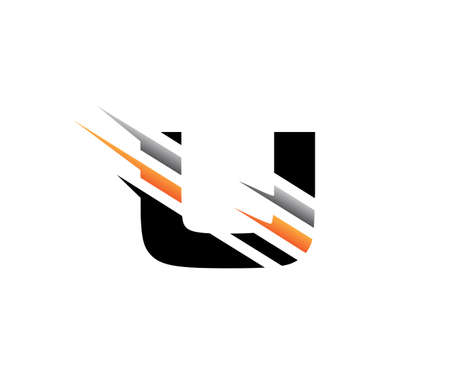 Abstract Initial Letter U Fast Technology logo icon vector design concept. 向量圖像