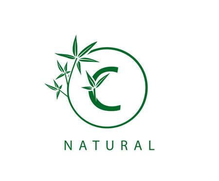 C Letter Green Bamboo Logo Design.