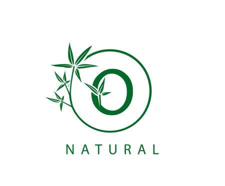 O Letter Green Bamboo Logo Design. Stock Illustratie