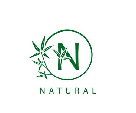 N Letter Green Bamboo Logo Design.