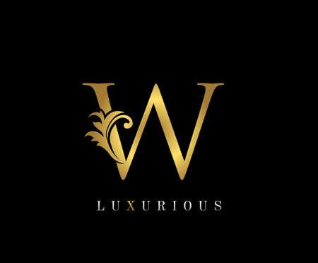 Golden W Luxury Logo Icon, Vintage W Letter Logo Design. Ilustracja