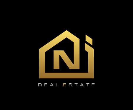 Golden N House Logo Design, Real Estate Icon. Logó