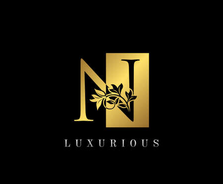 Golden N Luxury Logo Icon, Vintage Gold N Letter Logo Design. Logó