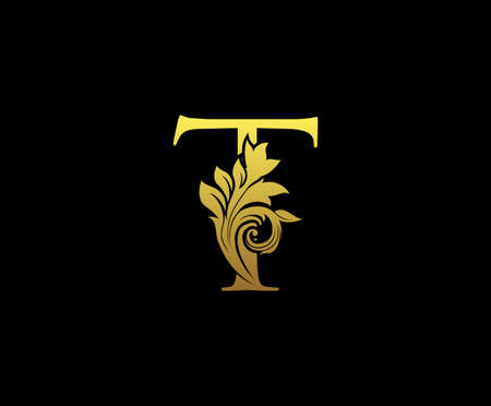Golden Letter T Logo Icon . Initial Letter T Design Vector Luxury Gold Color. Print monogram initials stamp sign symbol. Logo
