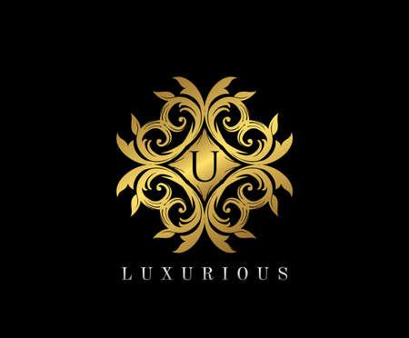 Golden elegant monogram with letter U. Template design for monogram, label, logo, emblem. Vector illustration.