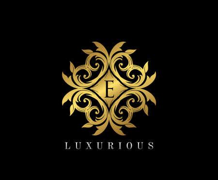 Golden elegant monogram with letter e. Template design for monogram, label, logo, emblem. Vector illustration.