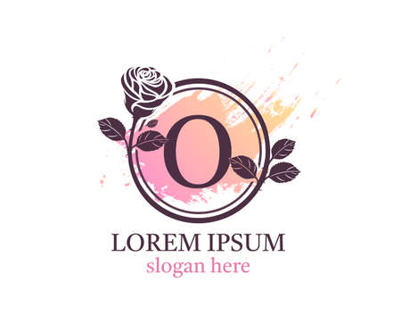 Letter O monogram logo. Circle floral style with beautiful roses. Feminine Icon Design.