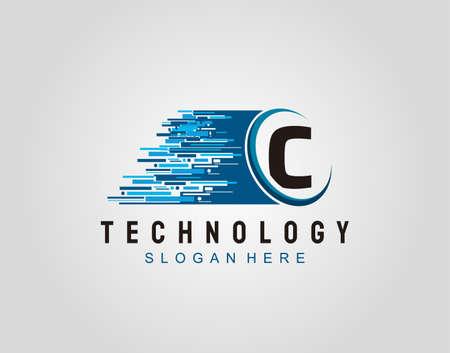 Motion Speed Line Techno Letter C Logo Vector Design.