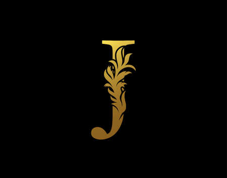 Classic Letter J Icon. Luxury Gold alphabet arts logo. Vintage Alphabetical Icon for book design, brand name, stamp, Restaurant, Boutique, Notary, Hotel.