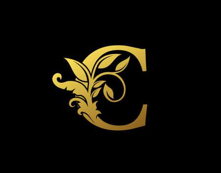 Luxury C Letter Design. Graceful Ornate Icon Vector Design. Vintage drawn emblem for book design, brand name, business card, Restaurant, Boutique, Hotel.