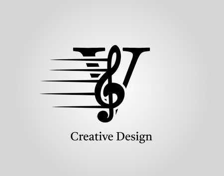 Key Note V Letter Logo Vector. Music Note On Initial V Design.