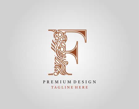 Luxury Initial F Letter logo icon, Elegant floral ornament monogram design vector. Logo