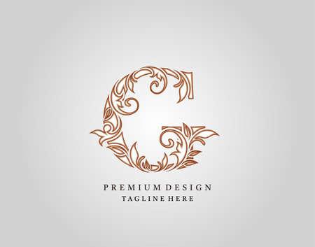 Caligraphic G Letter logo design, elegant floral ornate alphabet design vector.