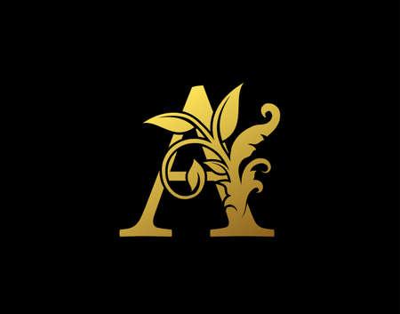 Luxury A Letter Design. Graceful Ornate Icon Vector Design. Vintage drawn emblem for book design, brand name, business card, Restaurant, Boutique, Hotel.