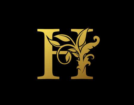 Luxury H Letter Design. Graceful Ornate Icon Vector Design. Vintage drawn emblem for book design, brand name, business card, Restaurant, Boutique, Hotel.