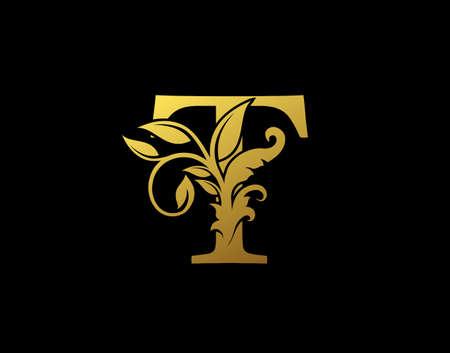Luxury T Letter Design. Graceful Ornate Icon Vector Design. Vintage drawn emblem for book design, brand name, business card, Restaurant, Boutique, Hotel.