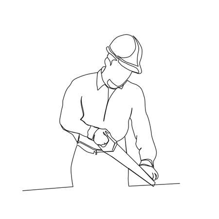Continuous line drawing of carpenter holding saw. worker line art with active stroke.