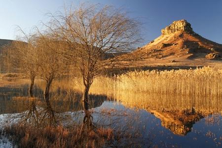 africa sunset: Autunno diga Refections tramonto, Fouriesburg, Sudafrica