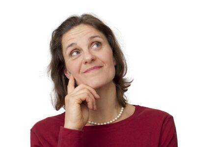 white female thinking and smiling Stock Photo - 8639756