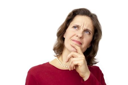 distrust: white female thinking in distrust Stock Photo