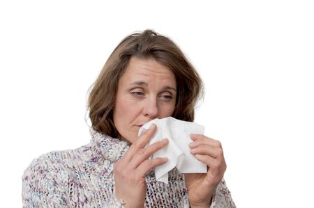 hanky: woman holding a tissue having a cold