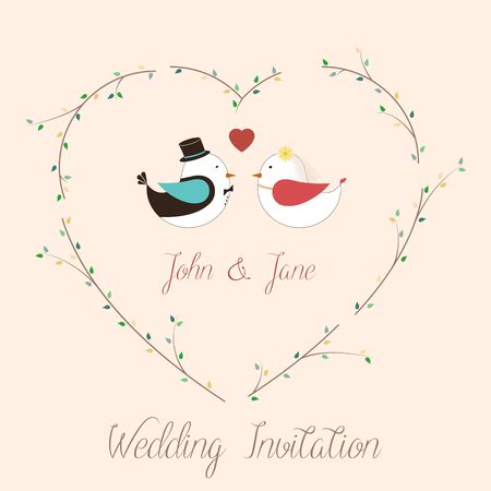 wedding invitation card with birds