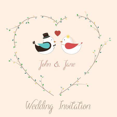 birds eye view: wedding invitation card with birds