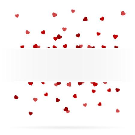 Realistic looking floating hearts behind a banner Ilustração