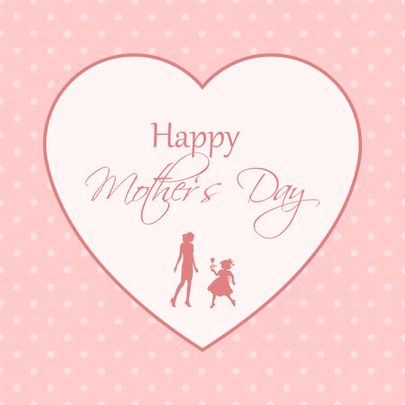nice greeting card for mothers day with very detailed silhouettes