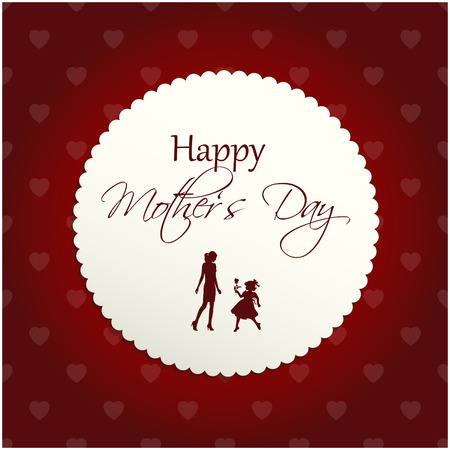 detailed greeting card for mothers day with silhouettes