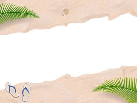 flip flop: Carribbean beach with isolated area in the middle Illustration