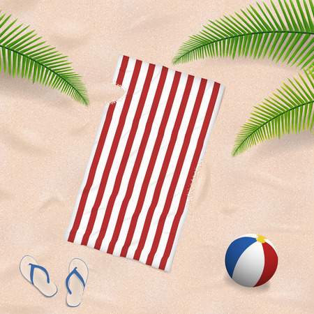 striped beach towel lying on a Caribbean beach with summer objects around Vectores