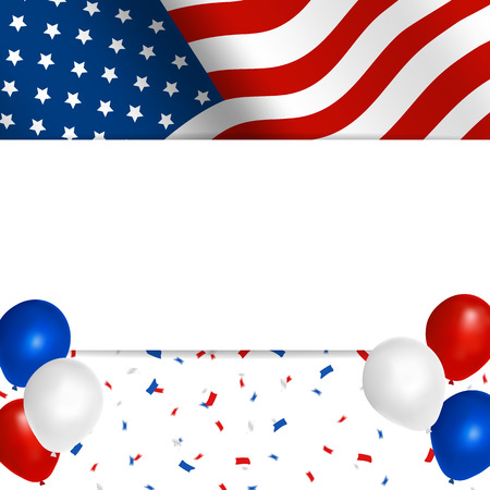 American flag greeting card with balloons and confetti in American colors