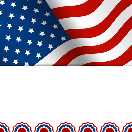 American flag greeting card with decoration elements 일러스트
