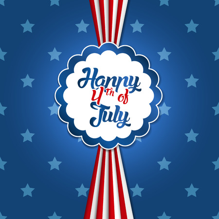 4th of July greeting card with star backround in American colors Vectores