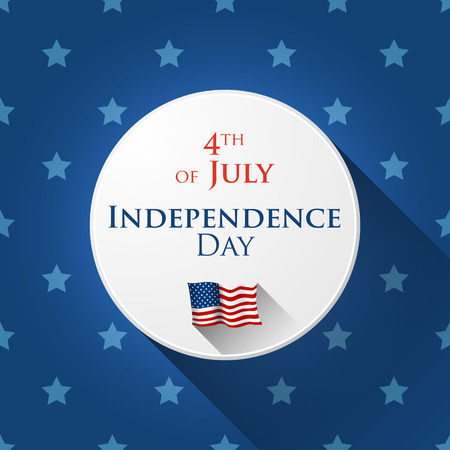 4th of July greetin card with star background in flat design